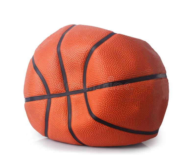 Deflated basketball ball. Isolated on white background royalty free stock photos