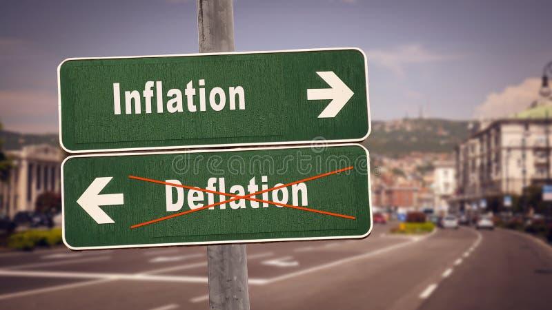 Deflation för inflation för gatatecken kontra arkivfoto