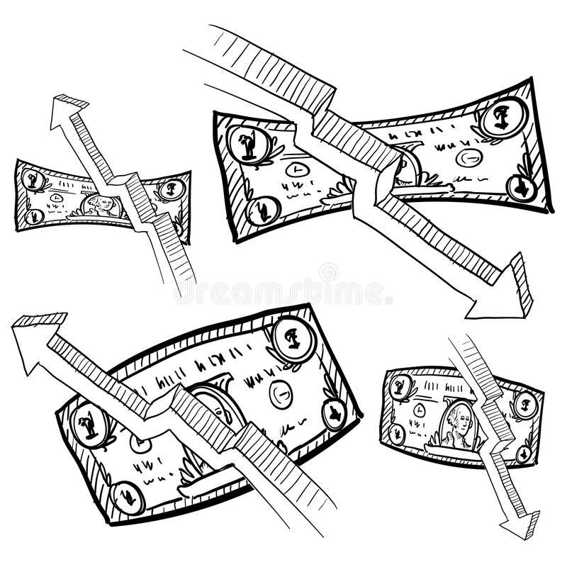 deflationinflation skissar royaltyfri illustrationer