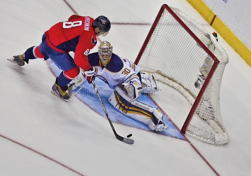 Deflected Shot on Goal--Washington Capitals and Buffalo Sabres stock image