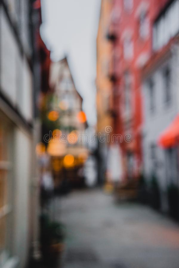 Defocus background - Colorful houses in historic Schnoorviertel in Bremen, Germany stock photography
