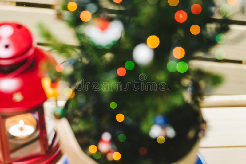 Defocus Christmas Tree. Defocused Christmas Tree with light decorative garland stock photography