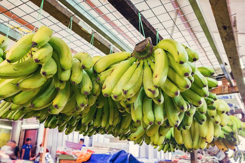 defocus van exotisch tropisch fruit, groene banaanvertoning bij marktkraam wordt geschoten die royalty-vrije stock afbeeldingen