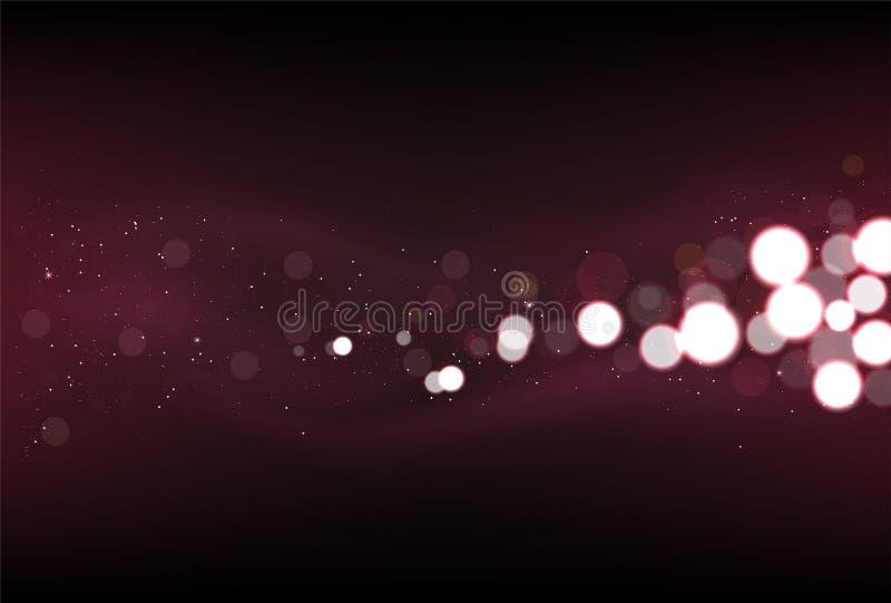 Defocused闪烁点燃在深红颜色的背景 向量例证