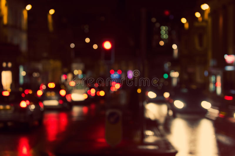 Defocused,被弄脏的都市抽象交通背景 免版税库存图片