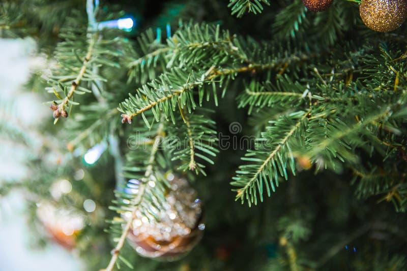 Defocused της ένωσης μπιχλιμπιδιών στο χριστουγεννιάτικο δέντρο με άλλα παιχνίδια στοκ φωτογραφίες