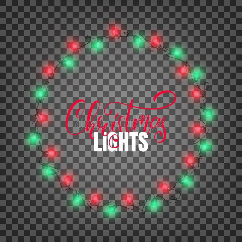 Defocused abstrakt julbakgrund Realistiska designbeståndsdelar för Xmas Glödande ljus för vinterferier Skinande girlander för jul royaltyfri illustrationer