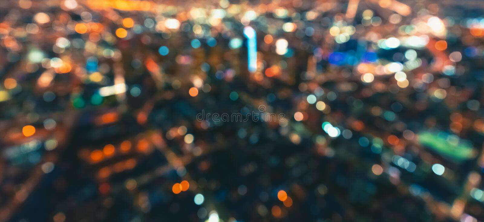 Defocused aerial view of Downtown Los Angeles. Aerial blurred view of Downtown Los Angeles at night royalty free stock photos
