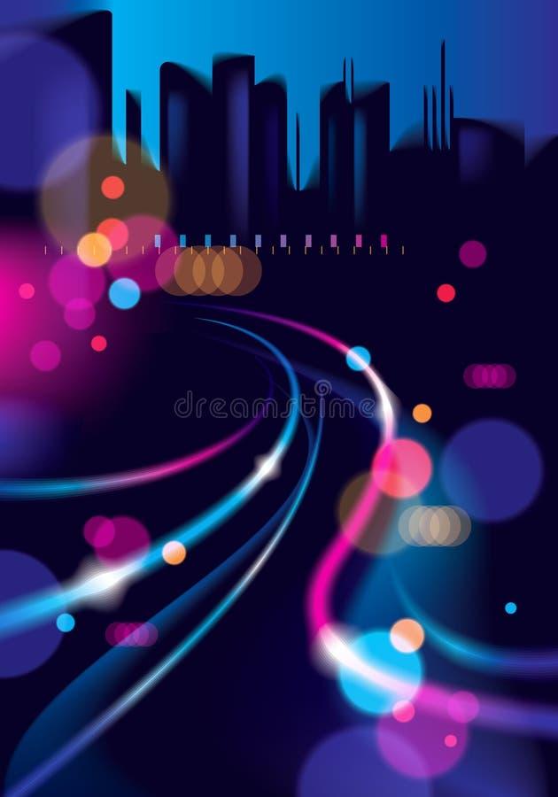 Defocused bakgrund för abstrakt stads- nattljusbokeh Effekt ve vektor illustrationer