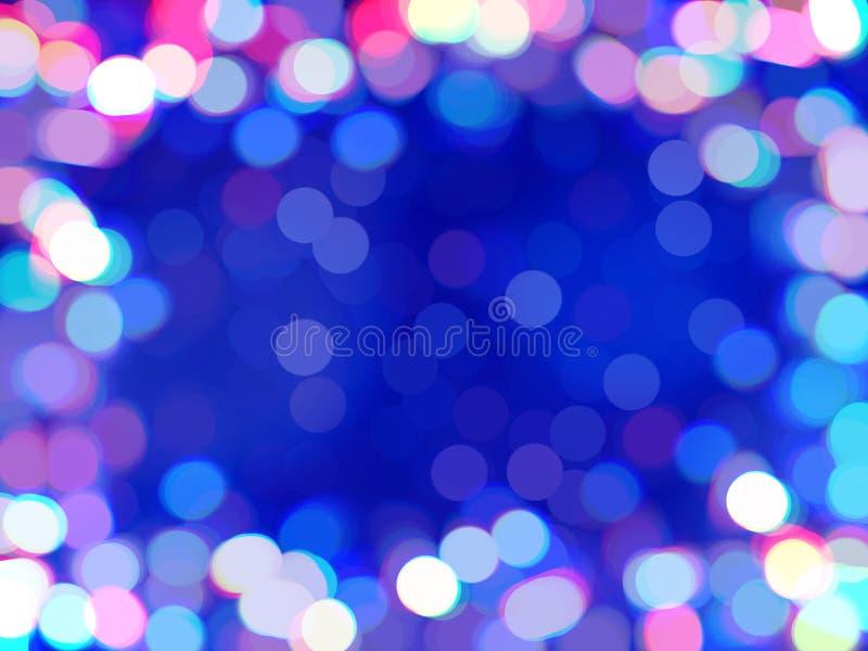Defocused bakgrund för mångfärgad bokeh Ram av skinande kulöra konfettier, suddig bakgrund stock illustrationer