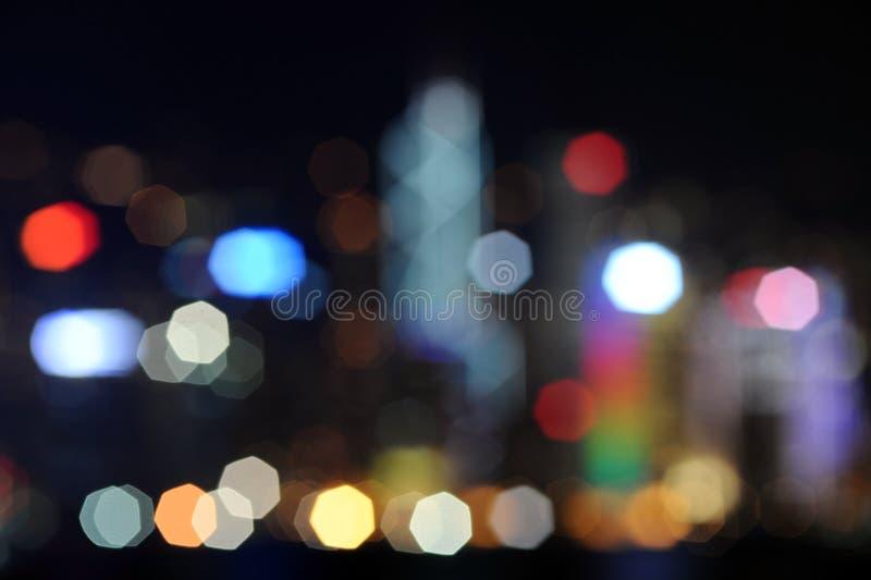 Defocused Bild der Hong- Kongwolkenkratzer stockfotos