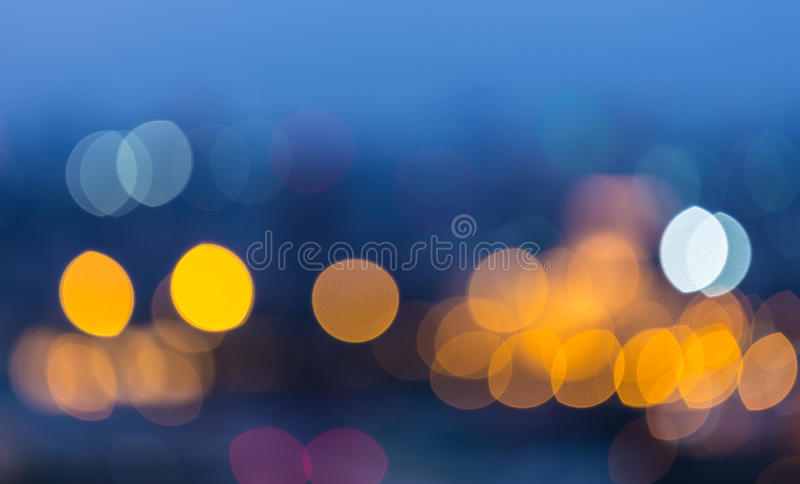 Defocused blur bokeh background. Abstract blur bokeh background of City light on bright colors style royalty free stock photo