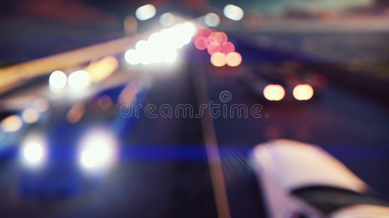 Defocused cars lights and background movement. Cars with lights on go through the city at night. 3D Rendering. Defocused cars lights and background movement stock photography