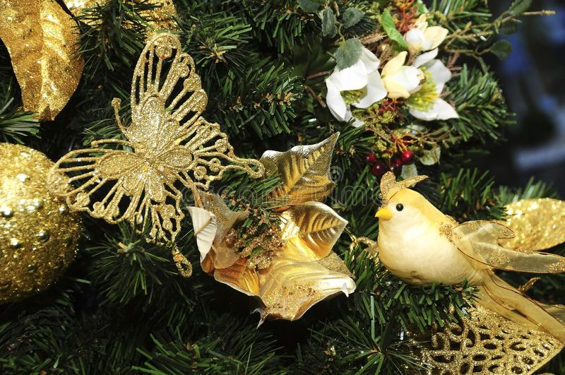 Defocused christmas decoration ideal for image background, blurred texture.  stock photo