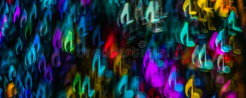 Defocused de gestalte gegeven het bladmuziek van nachtlichten bokeh, bokeh licht, bl royalty-vrije stock foto