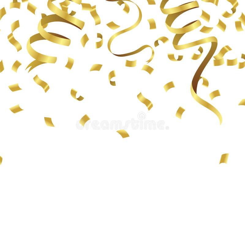Defocused de voorraad vectorillustratie gouden die confettien op a worden geïsoleerd stock illustratie