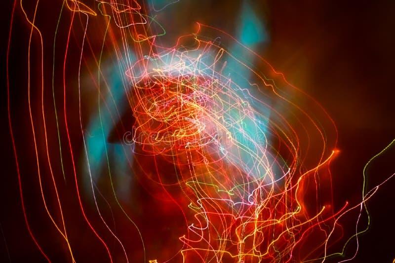 Defocused Effekt mit Weihnachtslichtern stockbild