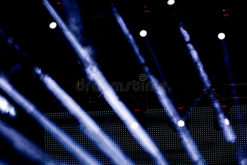 Defocused entertainment concert lighting on stage, bokeh. stock photo