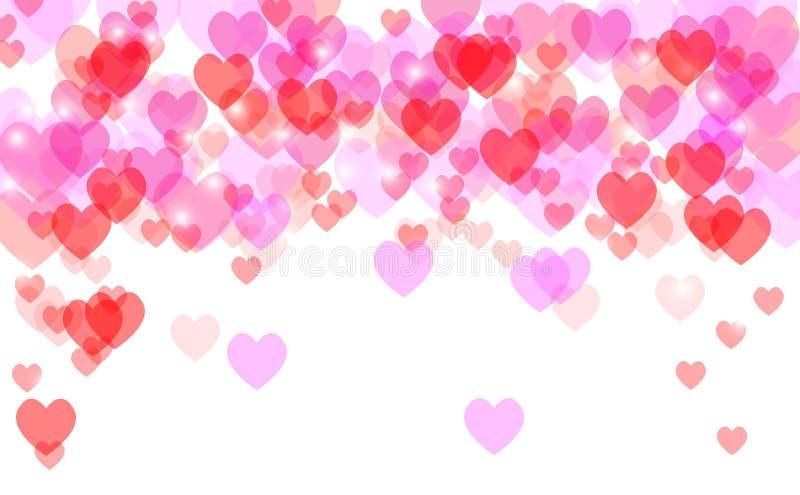 Defocused festivo del cuore del fondo astratto del biglietto di S. Valentino immagine stock