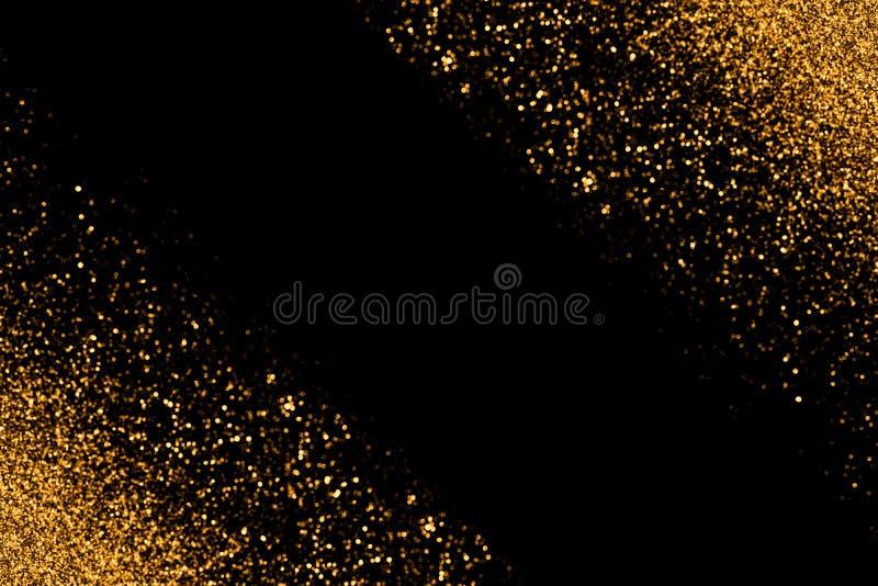 Defocused guld blänker med glödande gnistaljus på en svart bakgrund letters amerikansk för färgexplosionen för kortet 3d ferie fö royaltyfri fotografi