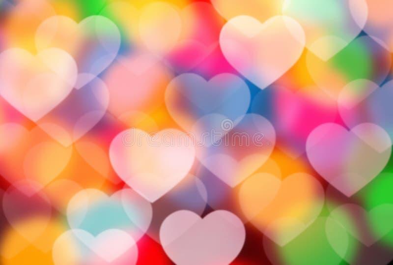 Defocused hearts stock images