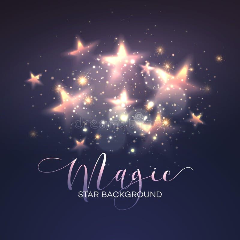 Defocused magii gwiazdy tło wektor ilustracji