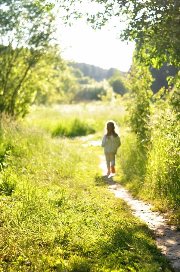 Defocused zamazany tło Mała dziewczynka w szarość iść daleko od pogodny lasowy pojęcie wolność, marzy, medytacja, motiva zdjęcia stock