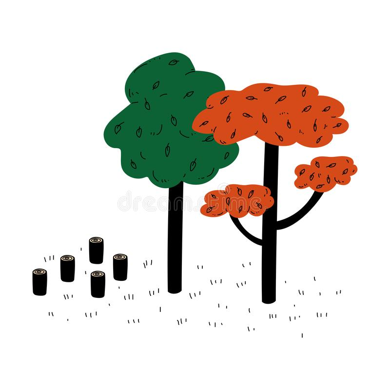 Deforestation with Chopped Woods, Cutting Down of Trees, Global Ecological Problem, Environmental Pollution illustration royalty free illustration
