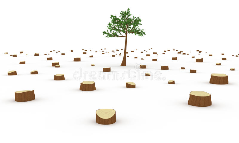 Deforestation concept. Deforestation 3d rendered concept illustration stock illustration