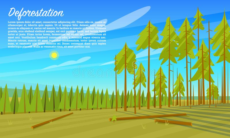 Deforestation concept. Cutting down trees. Environmental pollution and Ecological problems. Destruction of animals and vector illustration