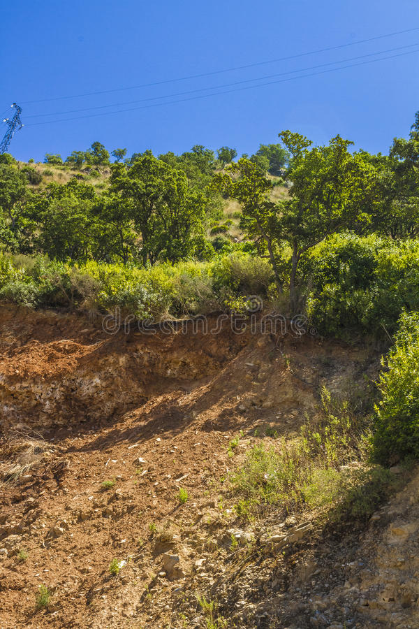 Deforestation and erosion. In Jijel, Algeria royalty free stock photography