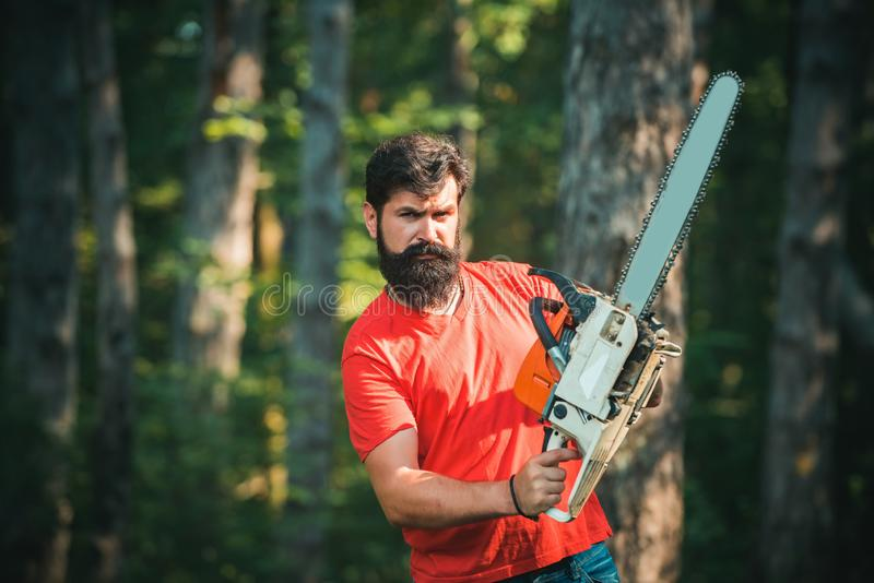 Deforestation is a major cause of land degradation and destabilization of natural ecosystems. Professional lumberjack stock photography