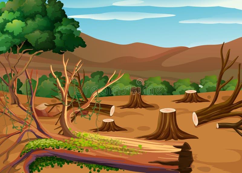 Deforestation scene at daytime royalty free illustration