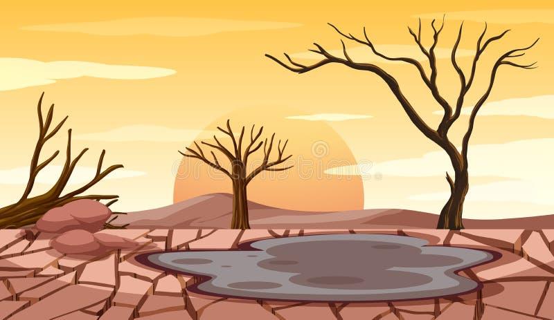 Deforestation scene with drought land stock illustration