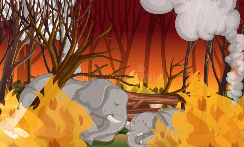 Deforestation scene with dying elephant vector illustration