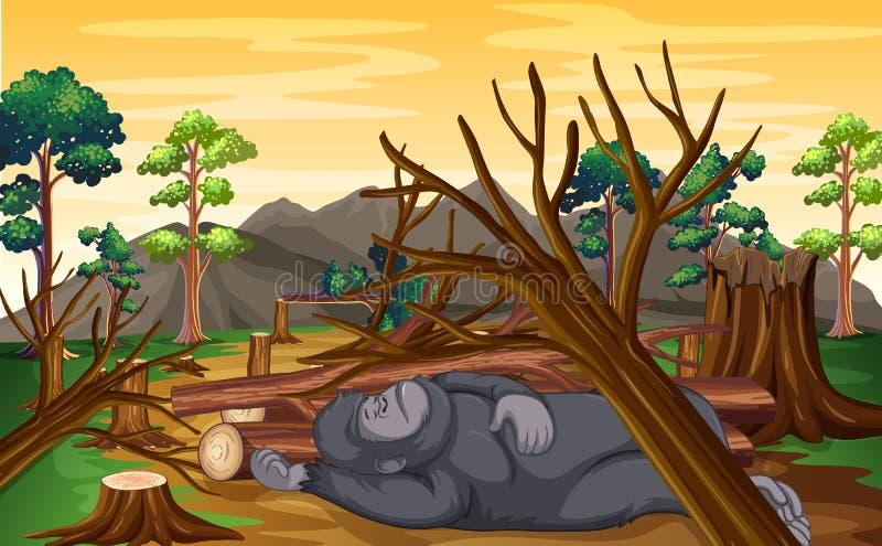 Deforestation scene with monkey dying vector illustration