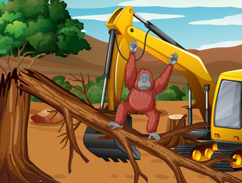 Deforestation scene with monkey and tractor. Illustration vector illustration