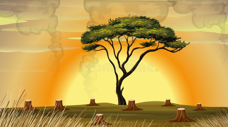 Deforestation scene with smoke in the field royalty free illustration