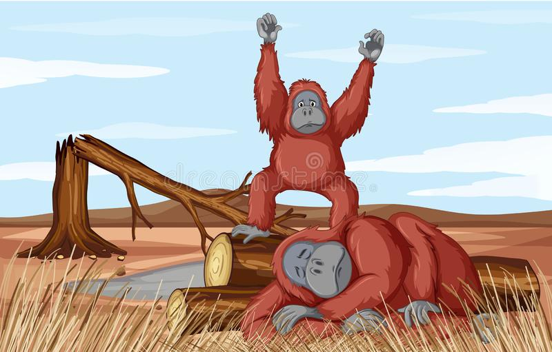 Deforestation scene with two monkeys. Illustration royalty free illustration