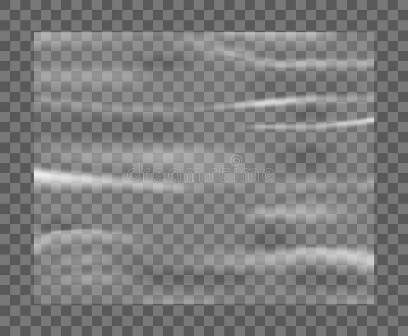 Deformación plástica blanca estirada realista Textura plástica de polietileno Vector del celofán del †transparente de la maquet stock de ilustración