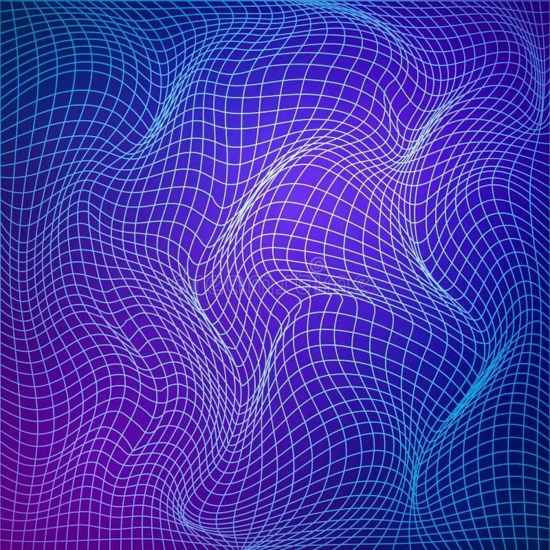 Deformación abstracta de la rejilla La plantilla de la rejilla tuerce Estructura ondulada de la malla Ejemplo del vector aislado  ilustración del vector