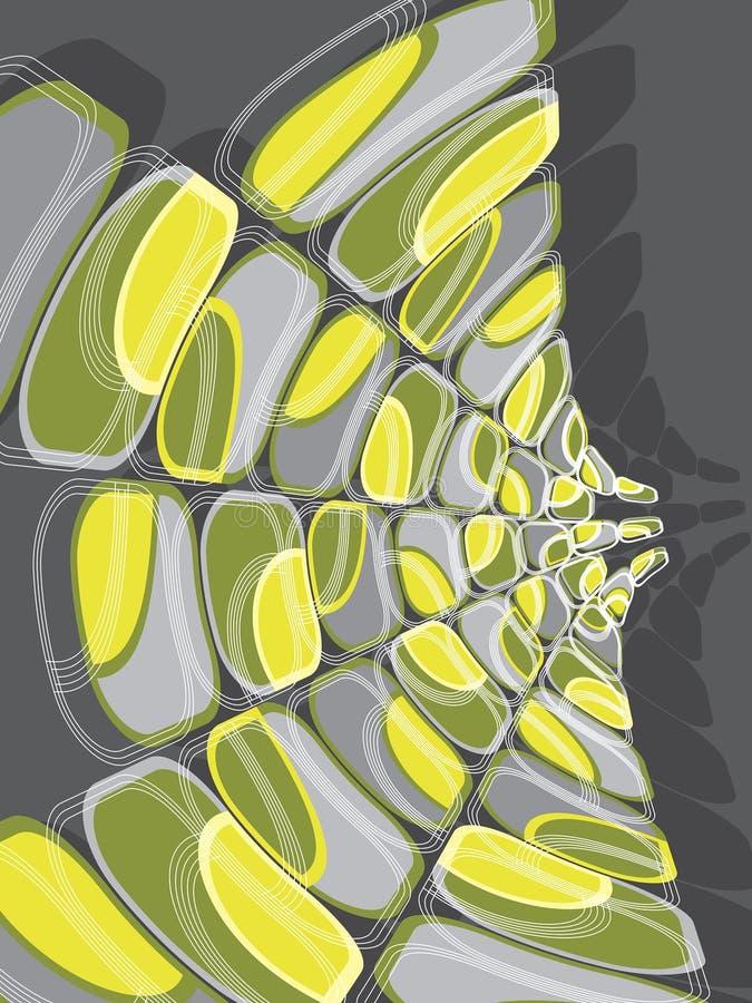 Deformación verde y amarilla del disco retro stock de ilustración