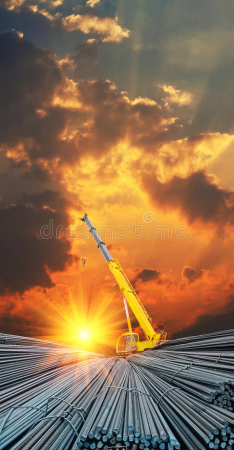 Deformed steel bar and dusk sky royalty free stock photography