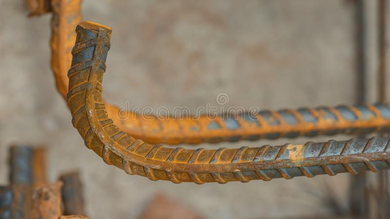 Deformed steel bars metal texture close up. In construction site royalty free stock photo