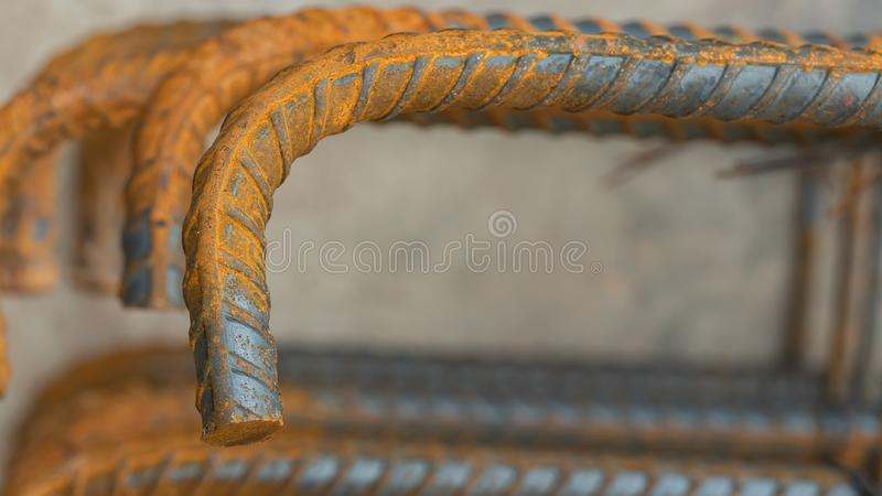 Deformed steel bars metal texture close up. In construction site royalty free stock photos