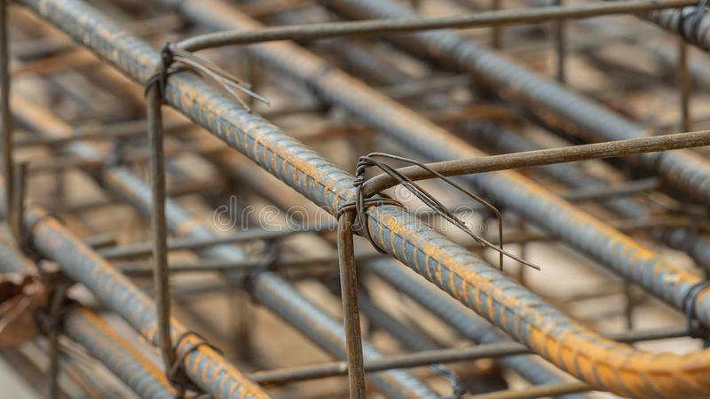 Deformed steel bars metal texture close up. In construction site stock photography