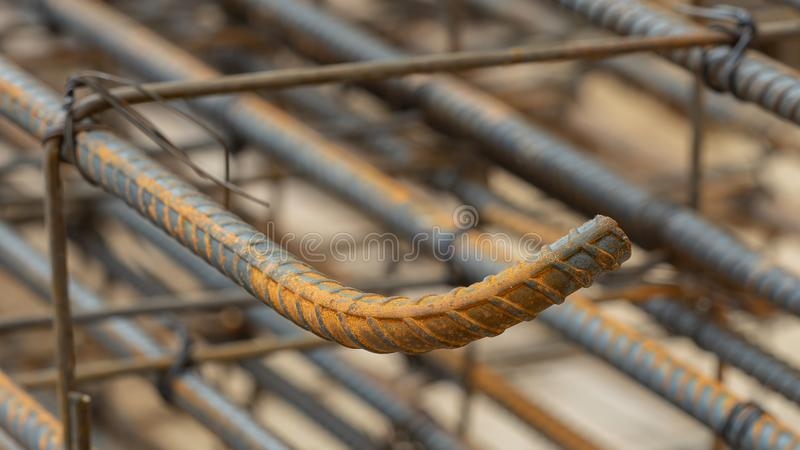 Deformed steel bars metal texture close up. In the construction site stock photos