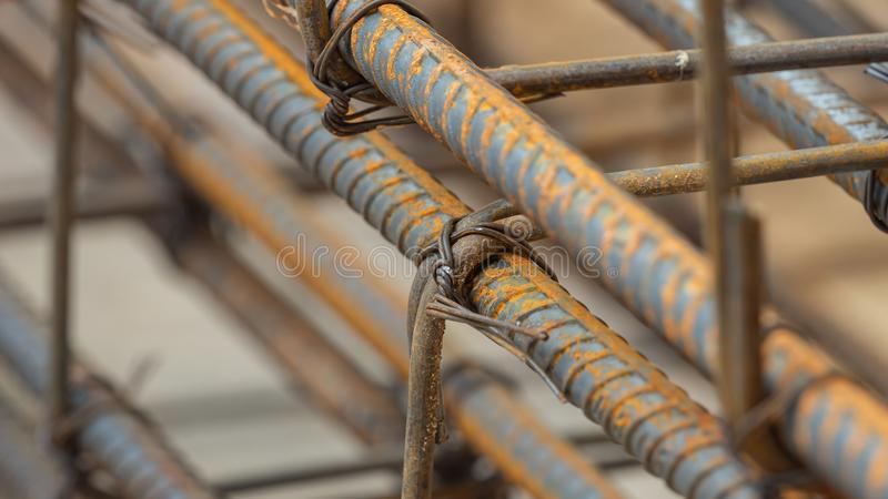 Deformed steel bars metal texture close up. In construction site royalty free stock photography