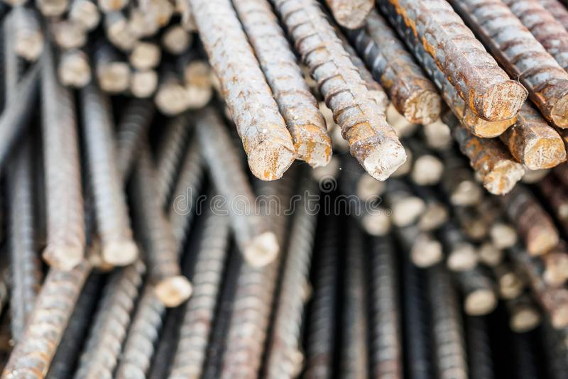 Deformed steel bars metal texture close up. Deformed steel bars for reinforce concrete, metal texture close up stock images