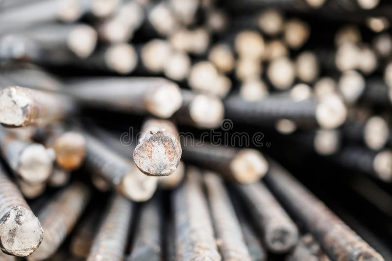 Deformed steel bars metal texture close up. Deformed steel bars for reinforce concrete, metal texture close up stock photography